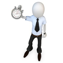 3d man businessman with stopwatch