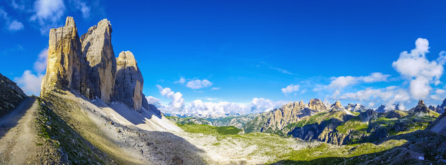 View of t Tre Cime di Lavaredo against blue sky, Dolomites