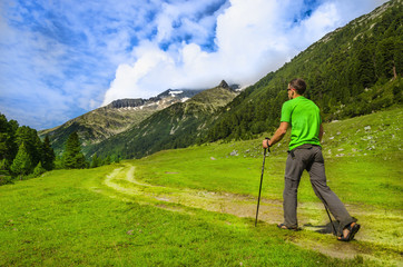 Man at one of the mountain trails, Zillertal Alps, Austria