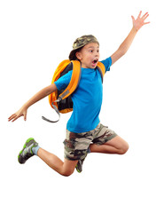 shouting jumping boy isolated over white