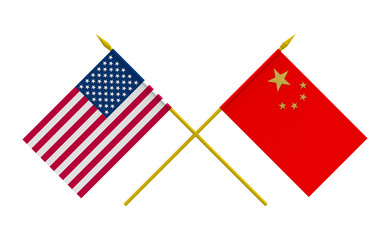 Flags, China and USA