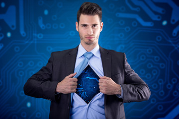 super hero with electrical circuit under the shirt