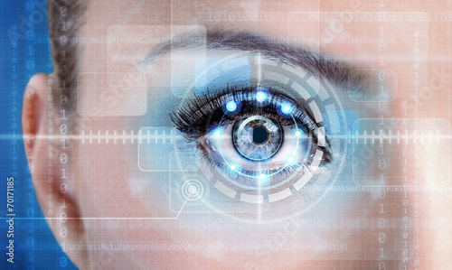 Technology scan female eye for security or identification - 70171185