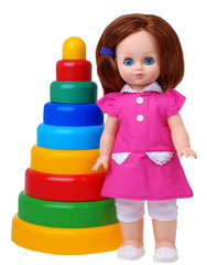 Vintage doll with colored pyramyd