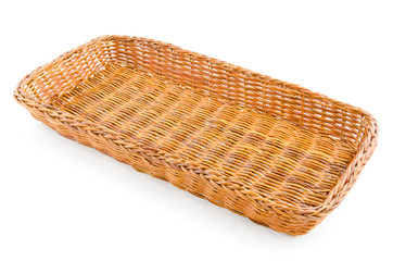 empty brown whicker basket isolated on white