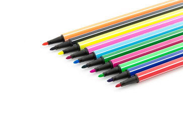 open felt pens isolated on white