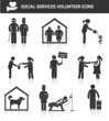Social services icons set black