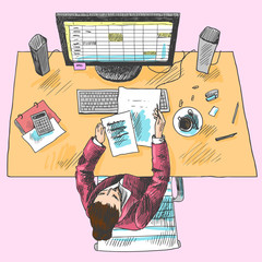 Accountant work place colored