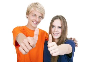 Teenager mit Daumen hoch