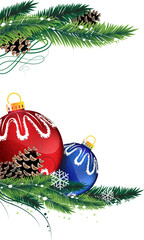 Christmas baubles with fir tree branches
