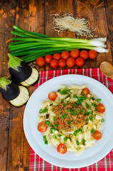 Pasta with bolognese sauce and eggplant
