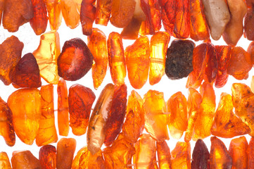 Beads of raw amber as abstract background