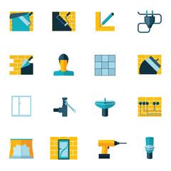 Home Repair Icons Flat