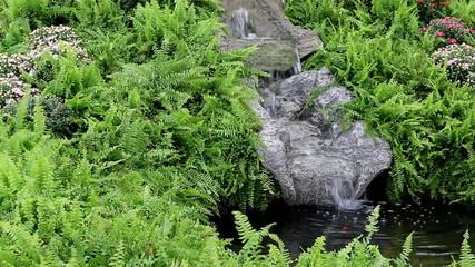 Garden waterfall in fern greenery