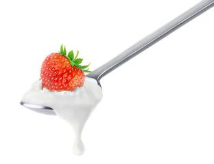Spoon of strawberry yogurt