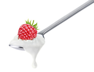 Spoon of raspberry yogurt