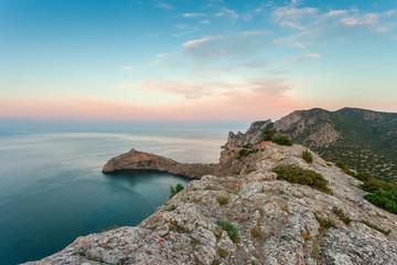 Sunrise in mountains. Crimea, Black sea