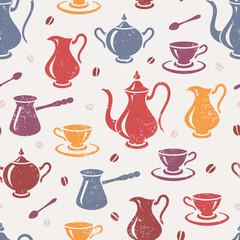 Vintage textured coffee seamless pattern