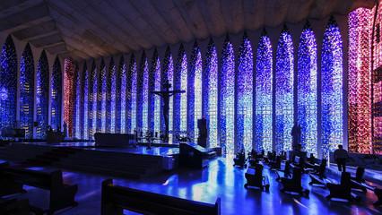 Interior of The Sanctuary of Dom Bosco, Brasilia, Brazil.