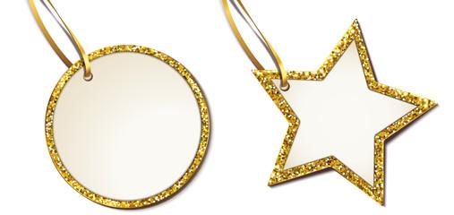 Etiketten mit Glitter - Rand /Gold