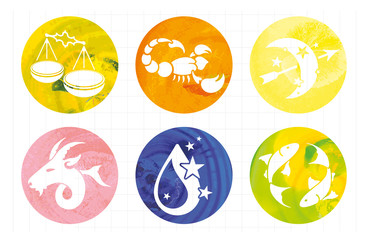 signs of the zodiac in watercolor circles
