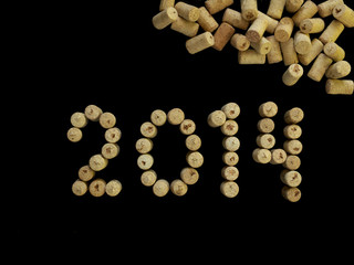 number 2014 made of wine corks