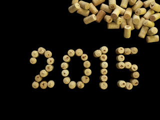 number 2015 made of wine corks