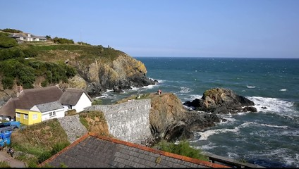 View to the sea Cadgwith Cornwall uk