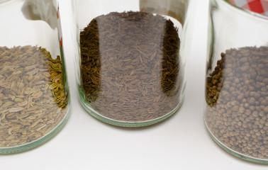 Gläser mit Gewürzen (Fenchel,Kümmel,Koriander)