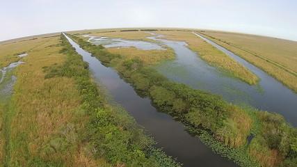 Everglades wetlands aerial view