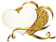 Herzkarten mit Goldband u. Glitter/Gold