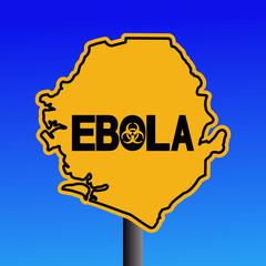 Danger Ebola biohazard Sierra Leone map sign illustration