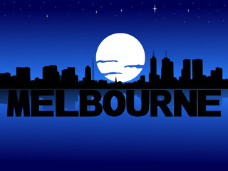 Melbourne skyline reflected with text and moon illustration
