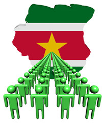 Lines of people with Suriname map flag illustration