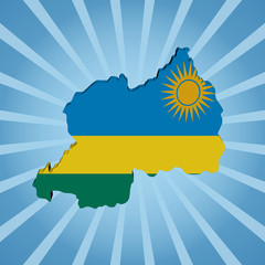 Rwanda map flag on blue sunburst illustration