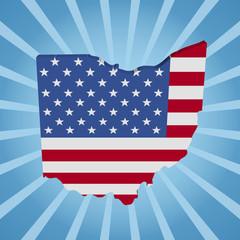 Ohio map flag on blue sunburst illustration
