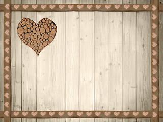 rustikaler Holzrahmen und Hintergrund mit Herzerl