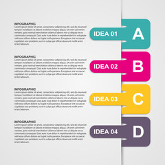 Infographics design with colored paper bookmarks.