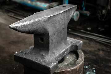 Steel anvil in a factory