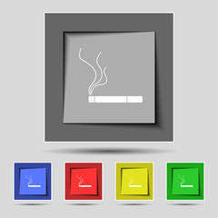 Smoking sign icon. Cigarette symbol. Set colourful buttons.