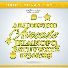 Avocado Graphic Styles for Design. use for decor, text, title,