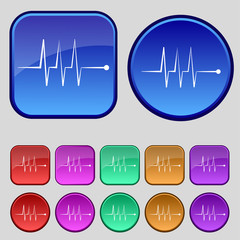 Cardiogram monitoring sign icon. Heart beats symbol. Set