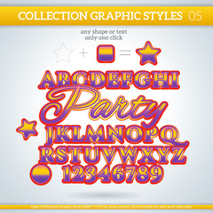 Party Graphic Styles for Design. use for decor, text, title, car