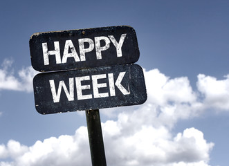 Happy Week sign with clouds and sky background