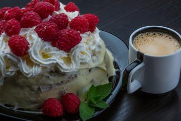 Coffee with raspberry cake