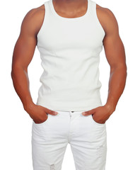 Handsome guy dressed in white