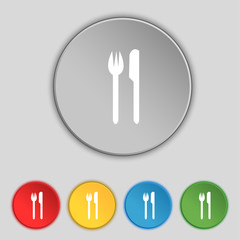 Eat sign icon. Cutlery symbol. Fork and knife. Set colourful