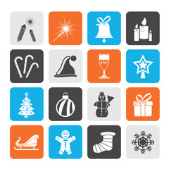 Silhouette Christmas and new year icons