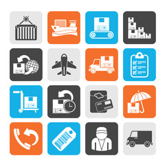 Silhouette Cargo, shipping and delivery icons
