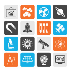 Silhouette science, research and education Icons